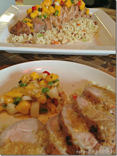 chili lime marinated pork tenderloin served with mango salsa and cauliflower rice pilaf