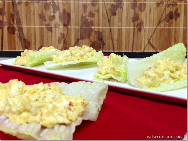 curried egg salad served in romaine lettuce cups