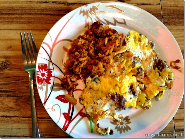 hamburger spinach egg scramble with sweet potato hash browns