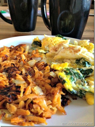 spinach eggs with sweet potato hash browns