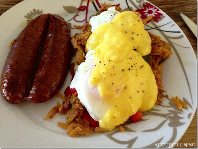 what i ate wednesday-eggs-sausauge-and-hollandaise