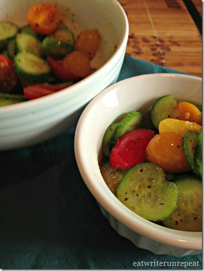 cucumber tomato salad with sesame vinaigrette | eatwriterunrepeat.com