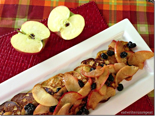 grain free pumpkin pancakes with apple raisin compote