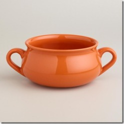 445147_PERSIMMON DOUBLE-HANDLED SOUP CROCK, SET OF 4<br />