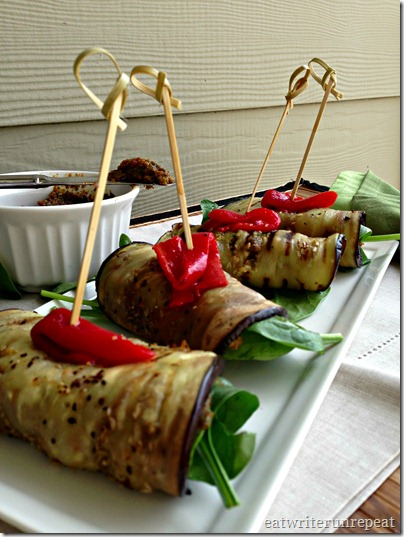 tomato basil eggplant roll-ups