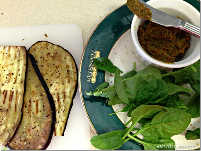 tomato basil pesto eggplant roll-ups prep