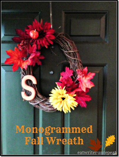 monogrammed fall wreath
