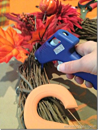 monogrammed fall wreath hot glue