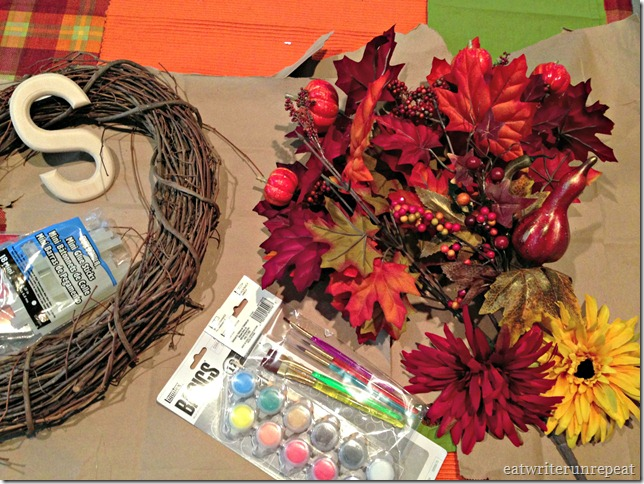 monogrammed fall wreath ingredients