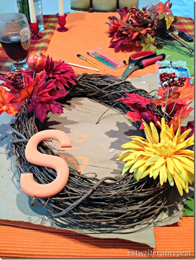 monogrammed fall wreath in proccess