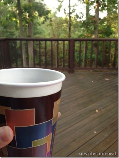 patio view with coffee