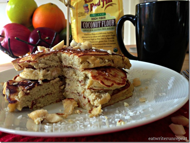 Paleo Coconut Banana Macademia Nut Pancakes | eatwriterunrepeat.com