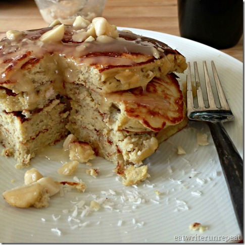 Paleo Coconut Banana Macademia Nut Pancakes with honey | eatwriterunrepeat.com