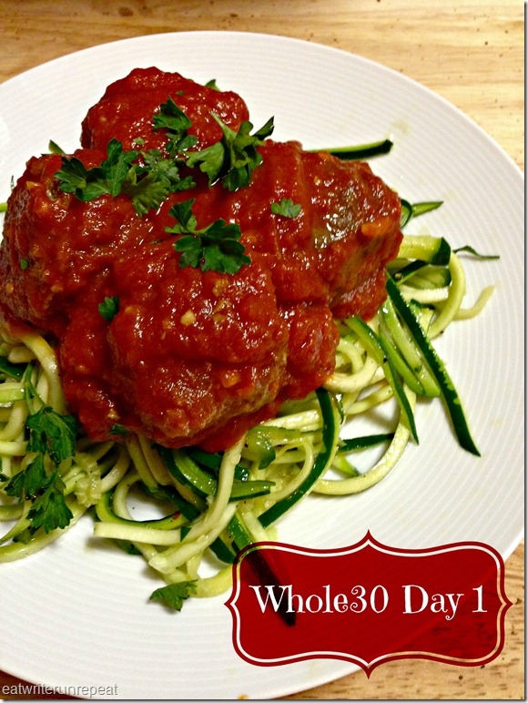 eatwriterunrepeat.com | Whole30 meatballs and zoodles
