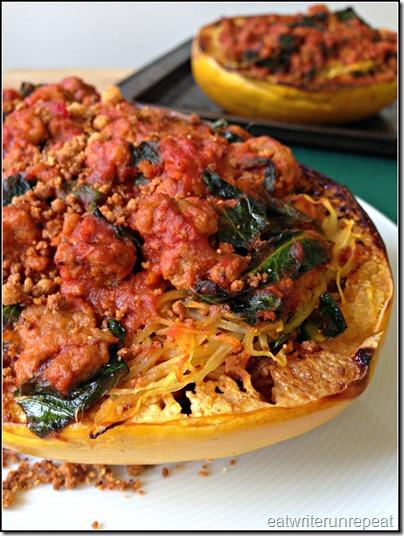 spaghetti squash boats   eatwriterunrepeat.com