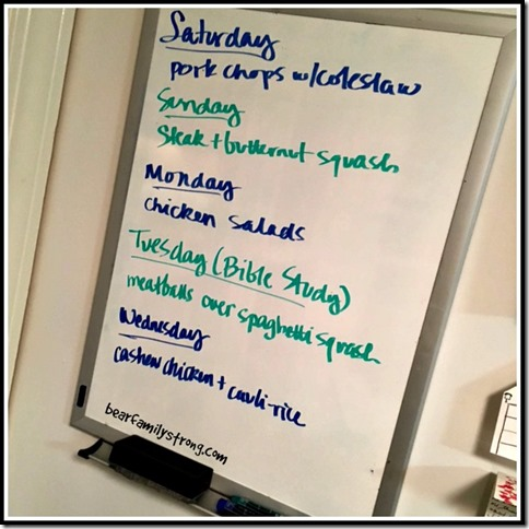 bearfamilystrong.com | food prep white board