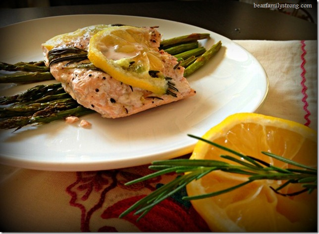 bearfamilystrong.com | lemon rosemary salmon with roasted asparagus